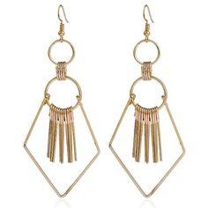 Tassel Geometry Drop Earrings (140 DOP) ❤ liked on Polyvore featuring jewelry, earrings, accessories, tassel earrings, tassel drop earrings, fringe tassel earrings, tassle earrings and earring jewelry