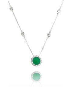 colar delicado tiffany com ponto de luz e pedra zirconia esmeralda semi joias online