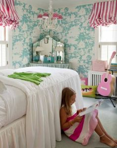 Cute girls room - especially the chandelier