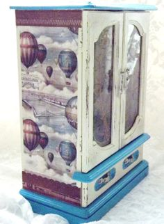 MBS  Shabby Steampunk Jewelry Box, Off White And Turquoise Hot Air Balloon Themed Jewelry Armoire, Hand Painted Vintage Jewelry Box