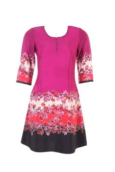 """Round neck printed kurta in Raspberry purple in poly crepe; 100% polyester; quarter sleeve; 38"""" in length"" #Clothing #Fashion #Style #Kurta #Wear #Colors #Apparel #Semiformal #Print #Casuals #W for #Woman"