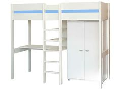 A high sleeper with a wardrobe and desk, great for making the most of your space