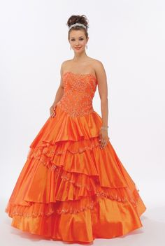 Cascading Orange Quinceanera Dress Sweet Sixteen Dress P1045