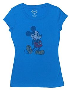 Disney Exclusive Juniors Mickey Mouse McKick It Rhinestone TShirt Turquoise Large * Learn more by visiting the image link.