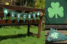 Hessian Fabric Green Bunting Saint Patrick's Day Shamrocks Burlap Lucky