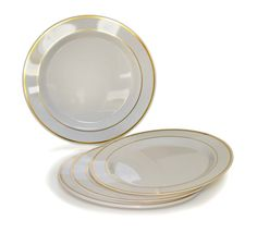 """Amazon.com: """"OCCASIONS"""" Disposable Plastic Plates, Ivory/Bone with Gold rim (120 pieces, 6'' dessert/ bread plate): Kitchen & Dining"""