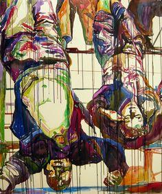 "Saatchi Online Artist: Roberto Paulet; Ink, 2010, Painting ""Benito Mussolini & Clara Petacci II Italy, Milan 1945"""