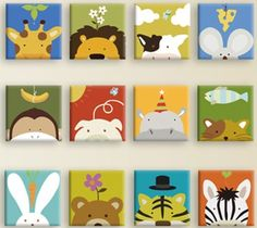 DigiArt Decor Wishes/Cartoon Animals Ready to Hang Wall Art Print Mounted on fiberboard/Better Than Stretched Panels Painting For Kids, Diy Painting, Art For Kids, Crafts For Kids, Nursery Prints, Nursery Art, Wall Art Prints, Canvas Prints, Kids Canvas