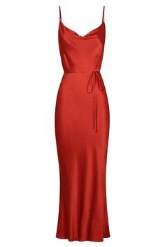 Red Slip Dress, Red Midi Dress, Silk Dress, Fancy Dress, Dress Outfits, Casual Dresses, Formal Dresses, Dress Png, Dark Red Dresses