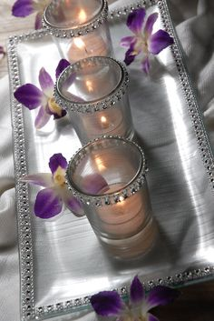 "Set with 3 Votive Holders & Clear Glass   Tray is 13.5"" x 6.5"", clear glass  3 clear glass votive holders, 2.5"" tall / base is 2"" wide  3 candles included 1.5"" wide x .5"" tall"