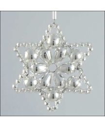 Flower Star Ornament Glass Bead Project Kit ~ All Silver  ~ Czech Republic