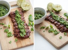 Grilled Flank Steak with Chimichurri.