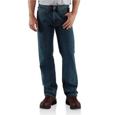 When comfort meets quality - his new favorite pair of jeans.  Cut in a classic five-pocket style, this rugged jean is a great choice for work; the straight leg openings fit over boots.