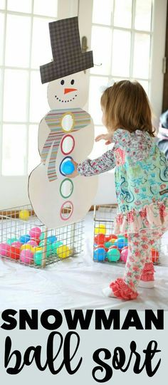 Snowman Ball Sort - I Can Teach My Child!-Snowman Ball Sort – I Can Teach My Child! Snowman Ball Sort: The perfect way to keep toddlers busy in the winter while encouraging color recognition! Toddler Play, Toddler Learning, Baby Play, Toddler Daycare, Preschool Learning, Sorting Activities, Infant Activities, Activities For Kids, Toddler Winter Activities