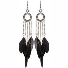 "5 feather earring with finding, 7"" total length including wire in Grey with Silver finish."