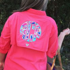 Monogrammed youth columbia fishing shirt with lilly for Baby magellan fishing shirts
