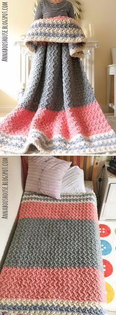 Enormous Squishy Blanket Free Crochet Pattern.