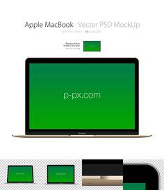 Free Apple MacBook Frontal Vector PSD MockUp (4.8 MB)   p-px.com