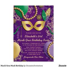 Mardi Gras Mask Birthday 5x7 Paper Invitation Card