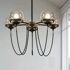 179.55$  Buy now - http://alix8y.worldwells.pw/go.php?t=32776252429 - Magic beans DNA Lustres wrought iron industrial Cafe project 5 lamps Nordic Art Deco glass ball LED pendant hanging lights 179.55$