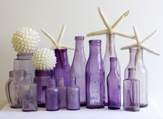 old purple bottles from Coastal Vintage