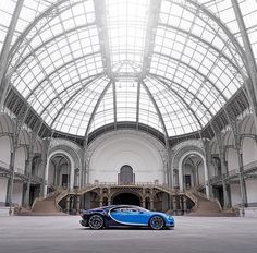 The most luxurious and most exclusive production super sports car in one of the most popular exhibition venues in Paris - the Grand Palais by bugatti Fast Sports Cars, Super Sport Cars, Fast Cars, Super Cars, Bugatti Cars, Bugatti Veyron, Luxury Car Brands, Luxury Cars