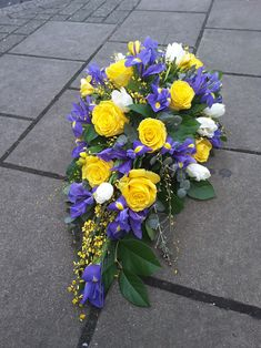 Funeral single ended spray in spring colours and flowers. Church Flowers, Funeral Flowers, Funeral Floral Arrangements, Flower Arrangements, Flower Spray, Flower Vases, Florist London, Funeral Sprays, Funeral Tributes