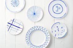 Porseleinstift op borden