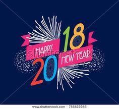 illustration of fireworks. Happy new year 2018 background