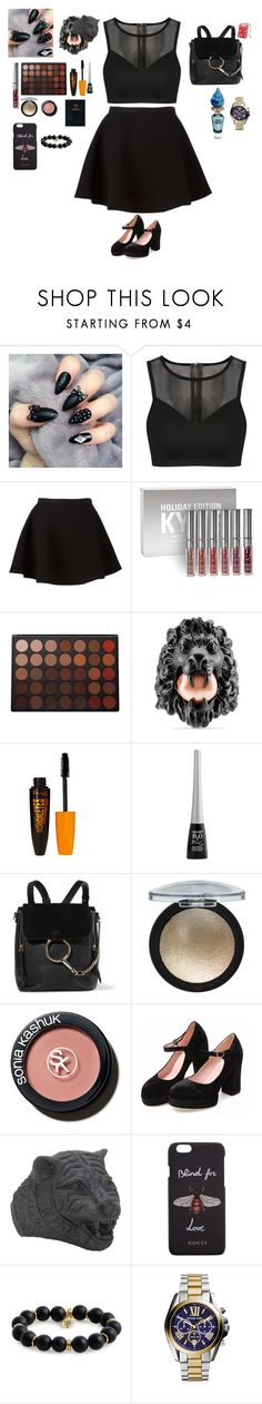 """Untitled #415"" by liazpanda ❤ liked on Polyvore featuring Neil Barrett, Kylie Cosmetics, Morphe, Gucci, Rimmel, Wet n Wild, Chloé, Sonia Kashuk, Bourbon and Boweties and Disney"