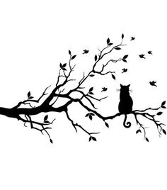 Cat On Tree Wall Art