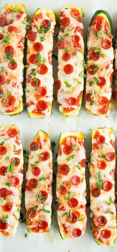 Zucchini Pizza Boats - My entire family LOVED these (picky eaters included)! Healthier than pizza, so easy to make and completely delicious!! A regular for sure.