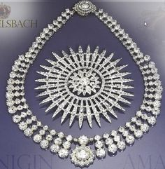 Diamond stars and Diamond reviere of Queen Amalie of Greece necklace tiara