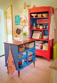 Old dresser island! - - Old dresser island! Diy Kitchen, Kitchen Design, Kitchen Decor, Kitchen Colors, Kitchen Cart, Kitchen Storage, Kitchen Ideas, Kitchen Interior, Kitchen White