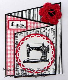 Tri-fold Slant card by Creative Stamping with Paula-Kay: Sew Thankful Blog Hop for Red Rubber Designs