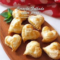 Receita coração folhado sabor pizza - Passo a passo com fotos - Dicas de Como fazer - How to  - Heart appetizer - Recipe - DIY tutorial  - M...