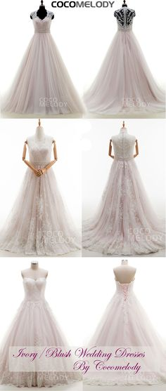 Classic A-Line V-neck Court Train Tulle Ivory/Pink Sleeveless Wedding Dress Sashes LWWT15019 #weddinghdresses2016 #cocomelody