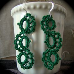 Tatted Lace Earrings - Journey - Autumn Shades - Green