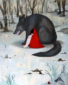 From Flower Pepper Gallery, Mandy Cao, Red Riding Hood Oil on Wood, 48 × 36 × 1 in Art And Illustration, Food Illustrations, Winnie The Pooh, Red Riding Hood Wolf, Charles Perrault, Psychedelic Drawings, Surrealism Painting, Principles Of Art, Fairytale Art