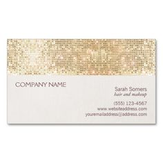 Gold Sparkly Sequin and Faux Linen Business Card. This great business card design is available for customization. All text style, colors, sizes can be modified to fit your needs. Just click the image to learn more!