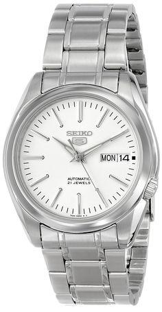 """Amazon.com: Seiko Men's SNKL41 """"Seiko 5"""" White Dial Stainless Steel Automatic Watch: Watches"""