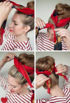 New Hair Styles Bandana Sock Buns Ideas Scarf Hairstyles, Pretty Hairstyles, Bandana Hairstyles For Long Hair, Short Hair, Curly Hair Styles, Natural Hair Styles, Hair Styles With Bandanas, Hair Today, Hair Dos