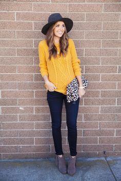mustard sweater, fringe boots, Hudson jeans