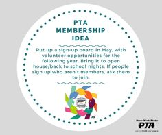 #MembershipTip: Put up a sign-up board in May, with volunteer opportunities for the following year. Bring it to open house/back to school nights. If people sign up who aren't members, ask them to join. #carrythecard #beapartofchangeandtakeaction
