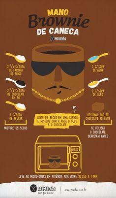 Receita ilustrada de mano Brownie de caneca, feita no micro-ondas. Receita muito fácil, rápida e muito saborosa. Melhor receita na caneca. Ingredientes: farinha de trigo, chocolate em pó, açúcar, água, óleo e chocolate em barra.