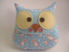 Owl plush toy blue bunny design. $16.00, via Etsy.