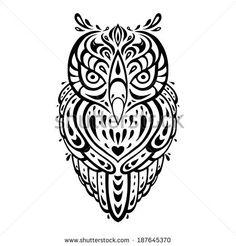 Illustration of Decorative Owl Tribal pattern Ethnic tattoo Vector illustration vector art, clipart and stock vectors.