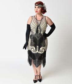 1920s Plus Size Dresses Preorder -  Unique Vintage Plus Size Ivory  Black Beaded Mesh Atlantic Fringe Flapper Dress $328.00 AT vintagedancer.com