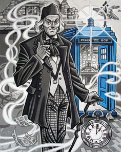 The finished version of my William Hartnell, the First Doctor, done in acrylic gouache and ink.My idea was to have him emerging from the TARDIS sort of like a wizard…