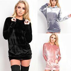 velvet hoodie dress winter Jacket Womens Fashion 2016 Long Sleeve Grey Black Pink solid sweatshirt christmas jumpers pullovers